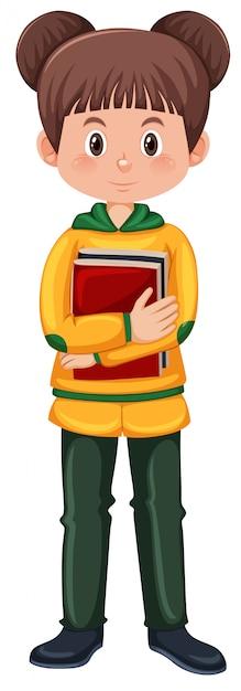 Jovem, menina morena, segurando, livros Vetor grátis