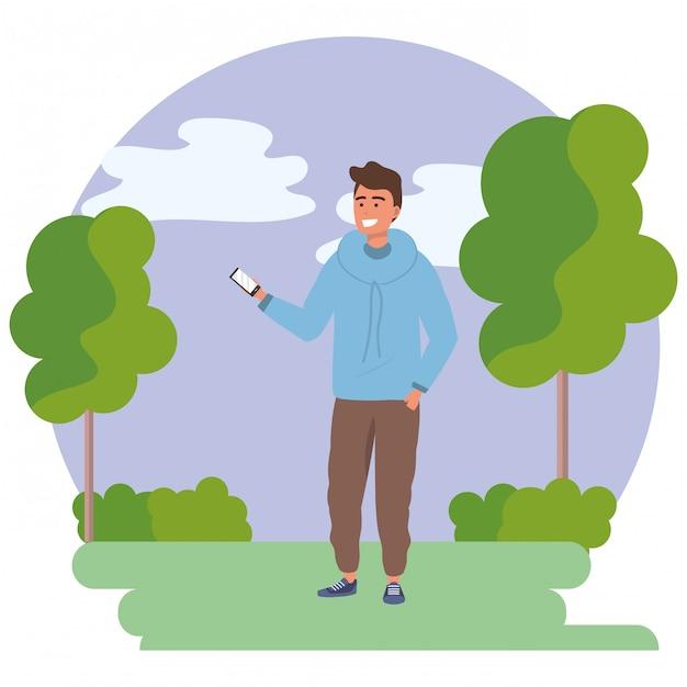 Jovem milenar smartphone texting frame redondo Vetor Premium