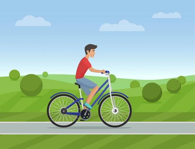 Jovem, montando, um, desporto, bicicleta Vetor Premium