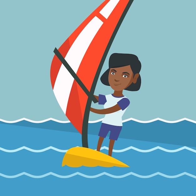 Jovem mulher afro-americana windsurf. Vetor Premium