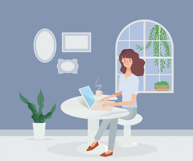 Jovem mulher asiática trabalhando no laptop. comunicação de mídia social de tecnologia. Vetor Premium