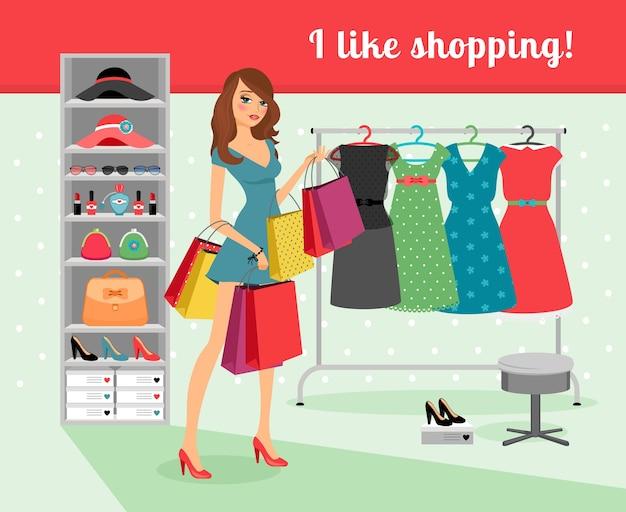 Jovem mulher bonita com pacotes de compras na mão. ilustração vetorial Vetor grátis