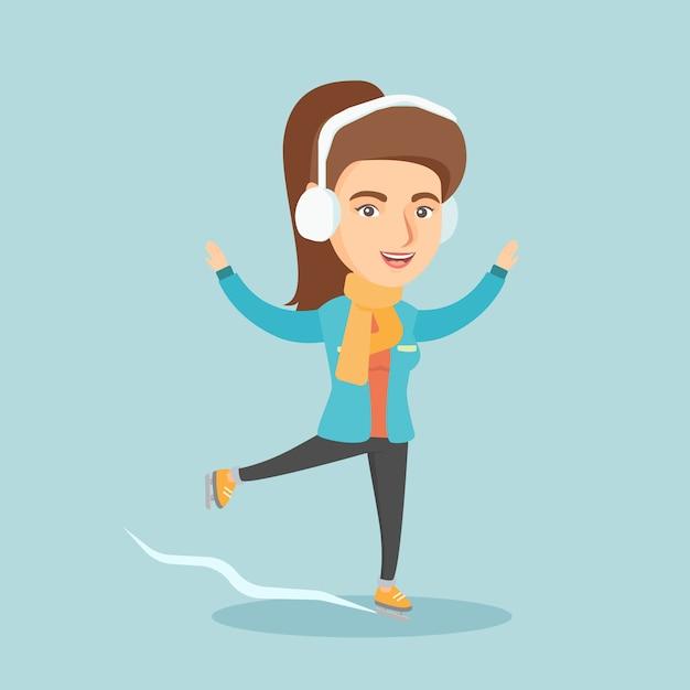 Jovem mulher caucasiana de patinação no gelo. Vetor Premium