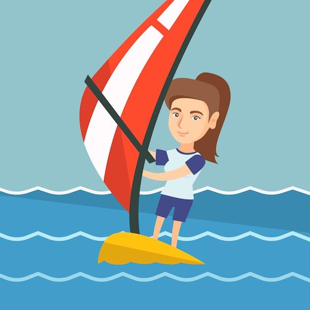 Jovem mulher caucasiana, windsurf no mar. Vetor Premium