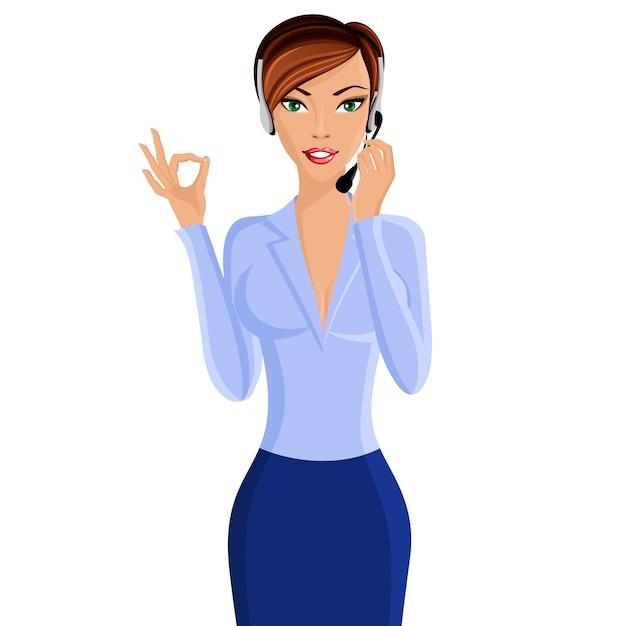 Jovem, mulher, chame centro, operador Vetor Premium