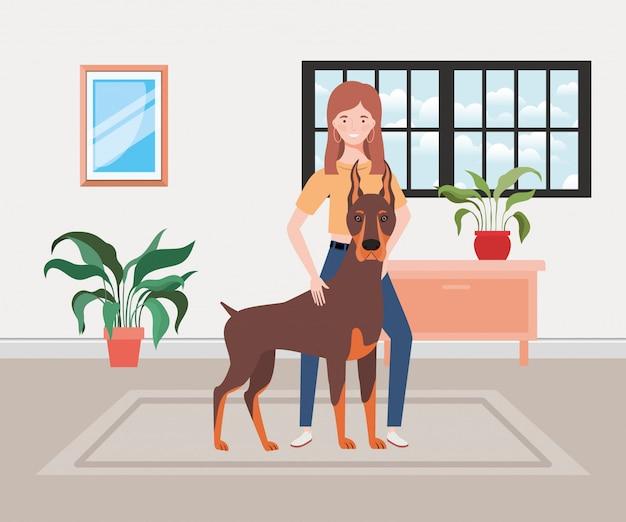 Jovem mulher com cachorro fofo na sala de casa Vetor Premium