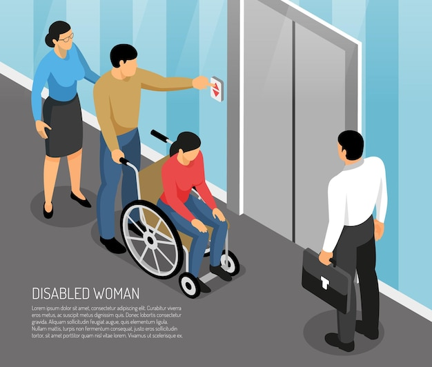 Jovem mulher com deficiência em cadeira de rodas com acompanhantes esperando elevador isométrico Vetor grátis