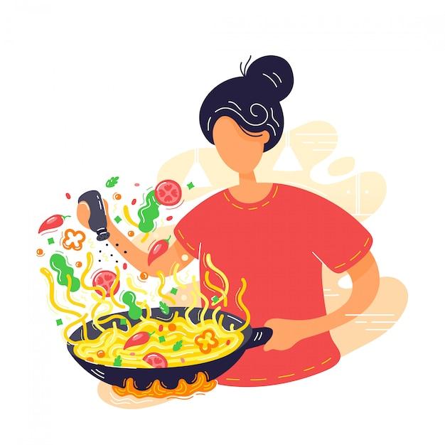 Jovem mulher coocking macarrão na frigideira wok. Vetor Premium