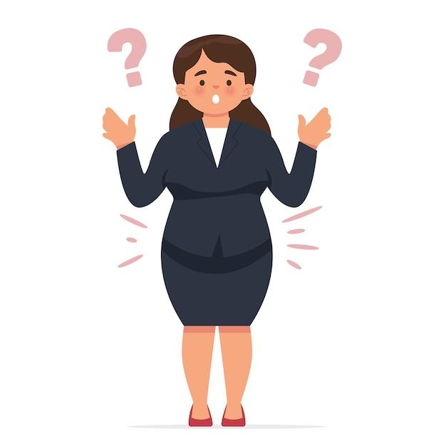 Jovem mulher de negócios ficou chocado de repente se sentir gordo Vetor Premium