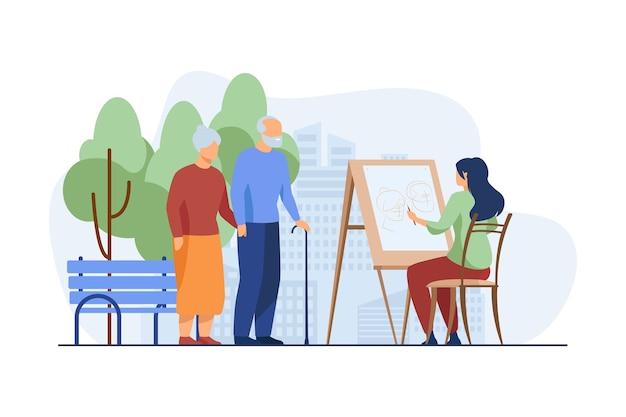 Jovem mulher desenhando o retrato de um casal de idosos no cavalete. Vetor grátis
