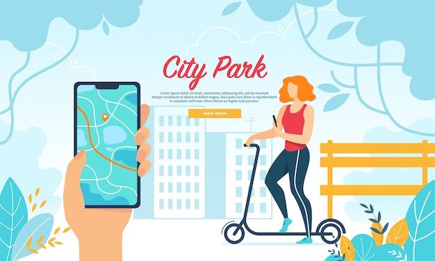 Jovem mulher dirigindo scooter no parque da cidade, mobile Vetor Premium