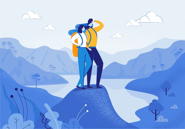 Jovem mulher e homem casal caminhadas nas montanhas Vetor Premium