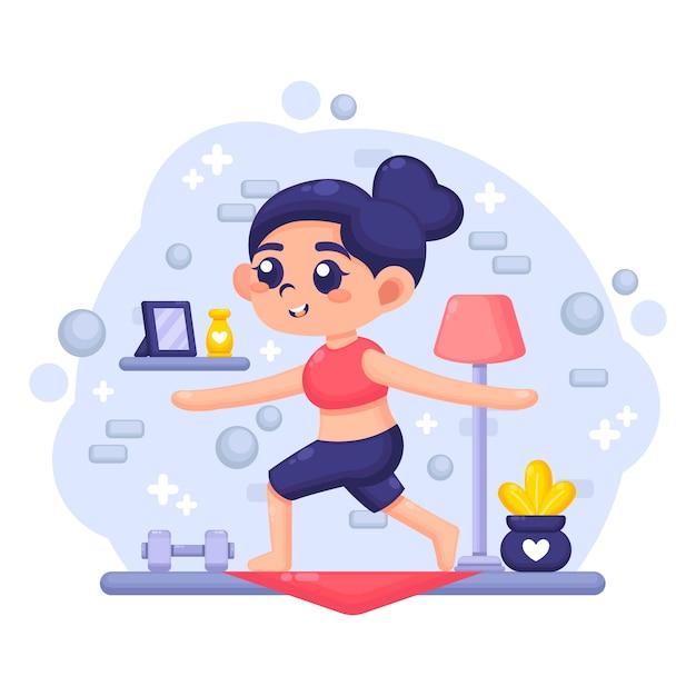 Jovem mulher exercitando na sala de estar Vetor grátis