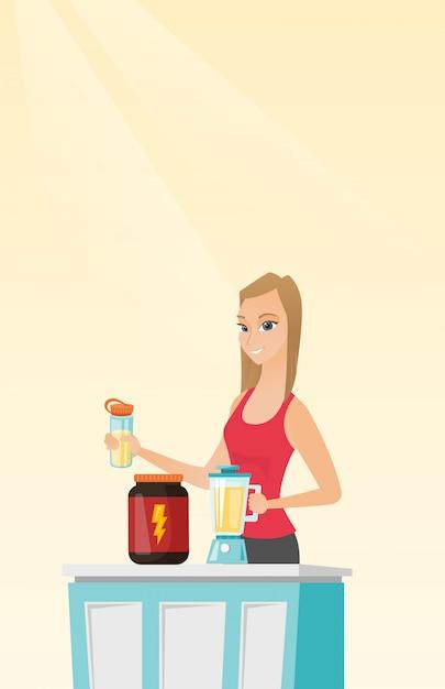 Jovem mulher fazendo coquetel de proteína. Vetor Premium