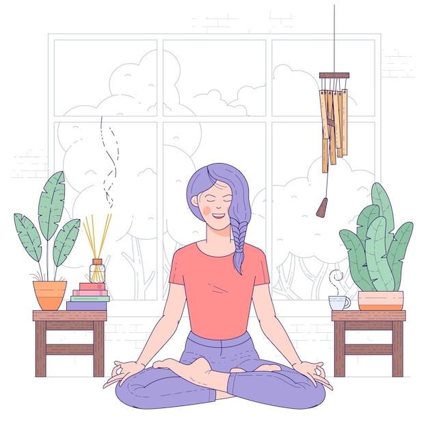 Jovem mulher fazendo ioga em casa, sentada na postura de lótus com os olhos fechados. Vetor Premium