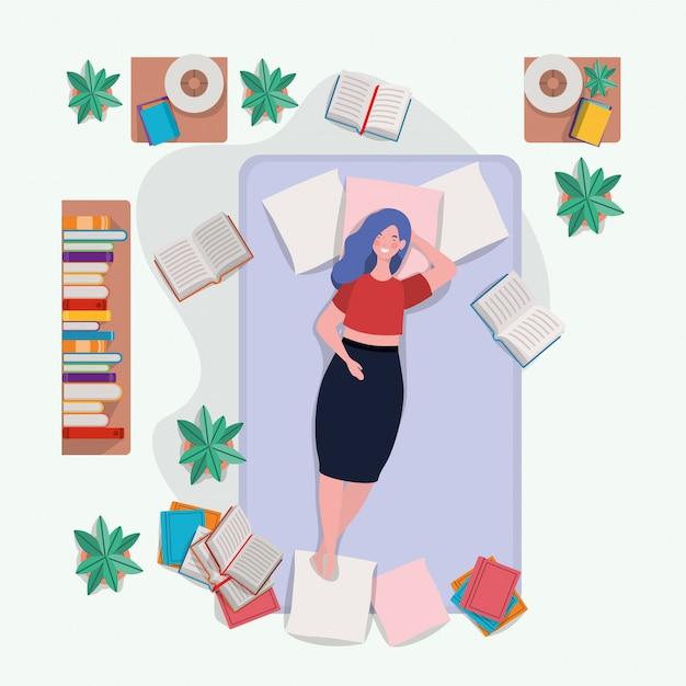 Jovem mulher gorda relaxante no colchão no quarto Vetor grátis