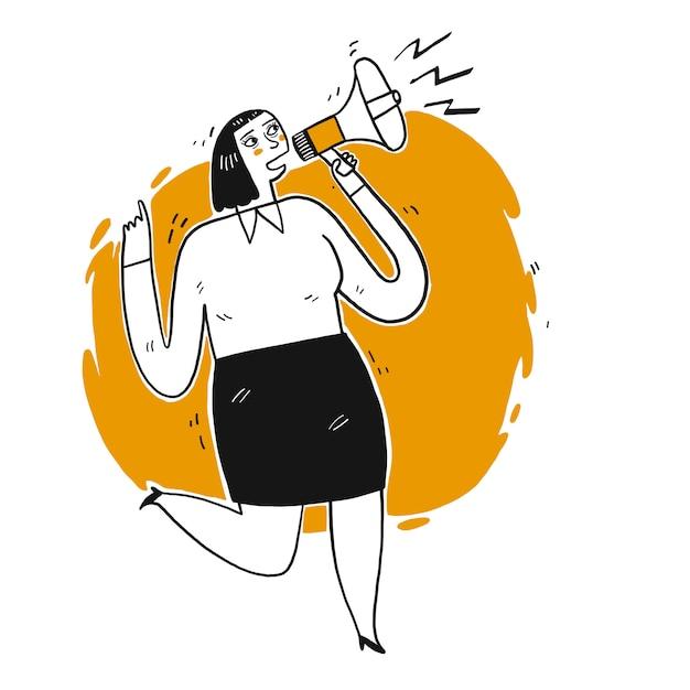 Jovem mulher gritando através do alto-falante. Vetor Premium