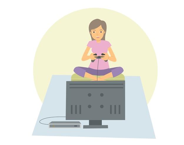Jovem, mulher, jogos jogando, ligado, dela, televisão plana, tela Vetor Premium