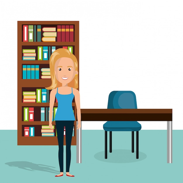 Jovem mulher na cena do personagem da biblioteca Vetor grátis