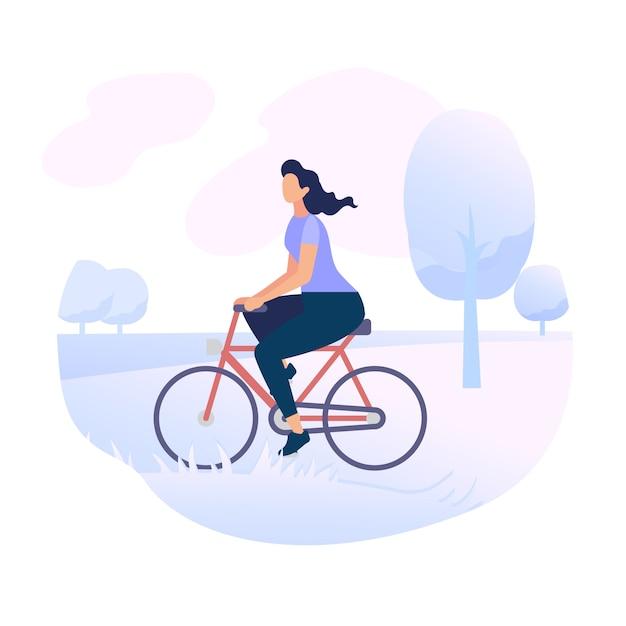 Jovem, mulher, personagem, montando, bicicleta, em, cidade, parque Vetor Premium