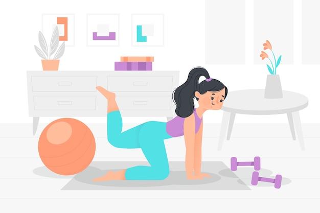 Jovem mulher que treina em casa ilustrada Vetor grátis