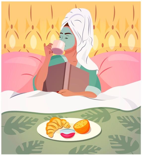 Jovem mulher tomando um café da manhã na cama com um livro, vestindo uma toalha na cabeça e tendo procedimentos faciais. atividades de quarentena. ficar em casa. ilustração de moda na moda. Vetor Premium