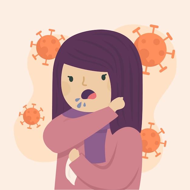 Jovem mulher tossindo no cotovelo ilustrado Vetor grátis