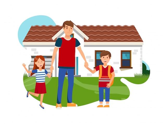 Jovem pai com filho e filha plana vector Vetor Premium