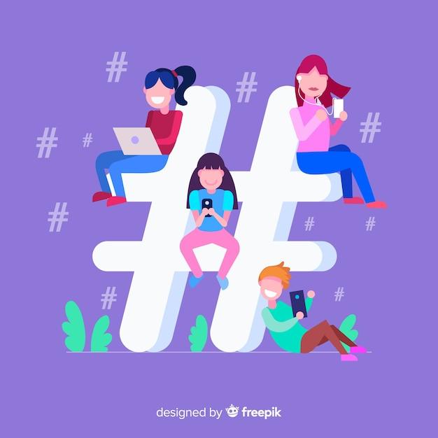 Jovem, pessoas, hashtag, conceito, fundo Vetor grátis