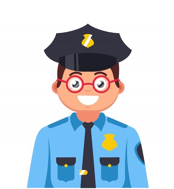 Jovem policial com óculos sorrindo. personagem policial muito jovem Vetor Premium