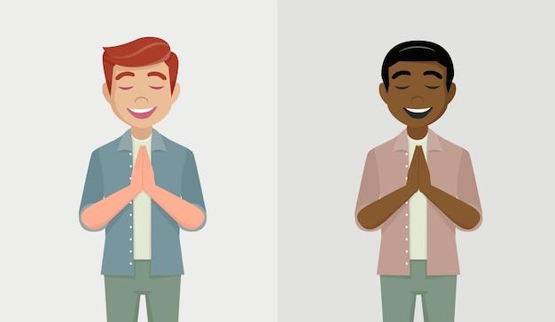 Jovem rezando de mãos dadas, homens pessoas segurando as palmas das mãos em oração Vetor Premium