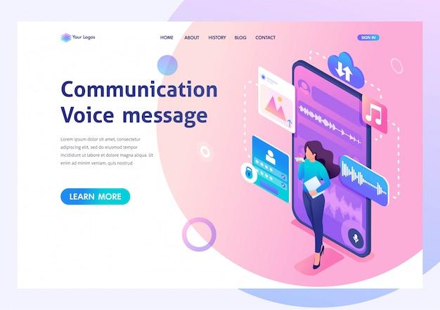 Jovem se comunica enviando mensagens de voz. moderno de comunicação. 3d isométrico. Vetor Premium