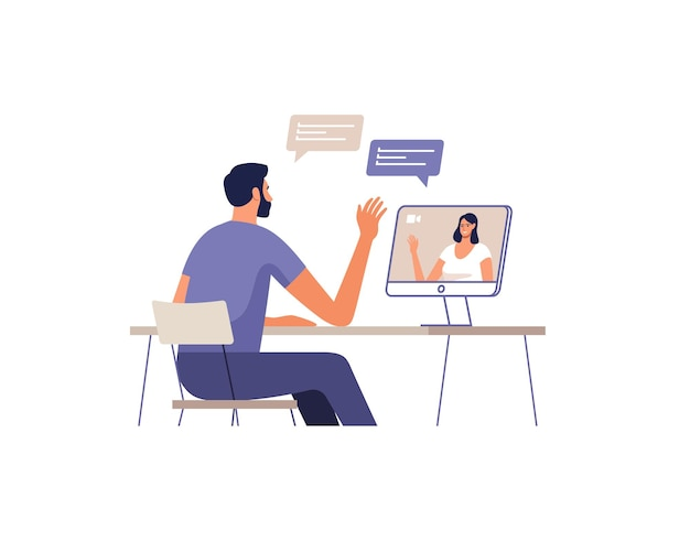 Jovem se comunicar online usando um computador. mulher na tela dos dispositivos. conceito de comunicação remota de reunião online, namoro, chamada e vídeo. Vetor Premium