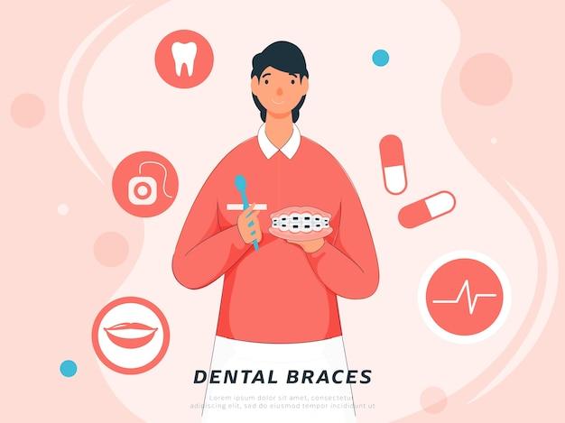 Jovem, segurando o aparelho dentário com ferramenta limpa e medicamentos em fundo rosa pastel. Vetor Premium