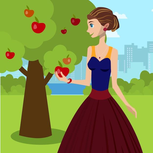 Jovem senhora que guarda a ilustração vermelha do vetor de apple. Vetor Premium