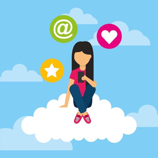 Jovem, sentada, nuvem, móvel, social, meios, ícones Vetor Premium