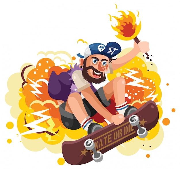 Jovem skatista pulando segurando uma tocha ilustração vetorial Vetor Premium