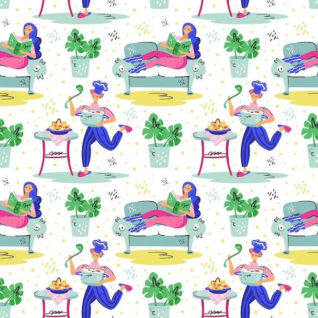 Jovem sorridente com panela cozinhando e sorridente garota de cabelo azul no sofá Vetor Premium