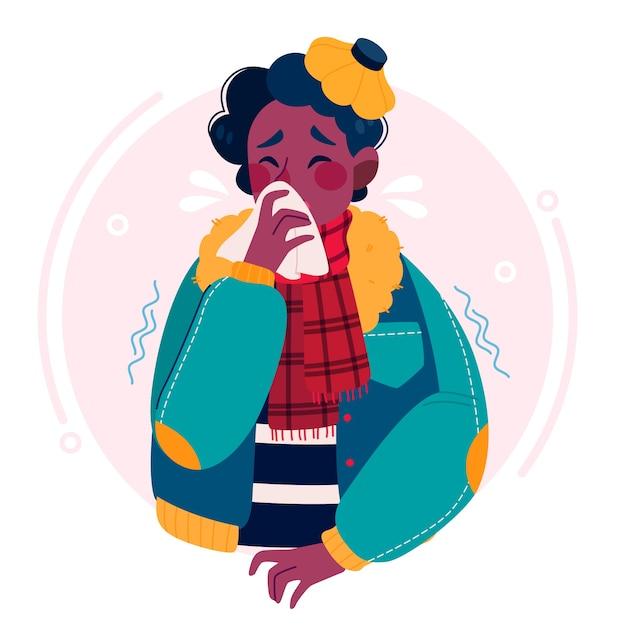 Jovem tendo um resfriado Vetor grátis