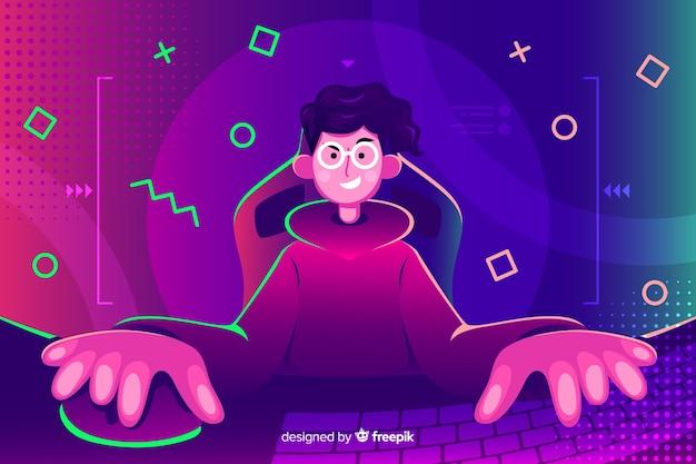 Jovem, tocando, computador Vetor grátis