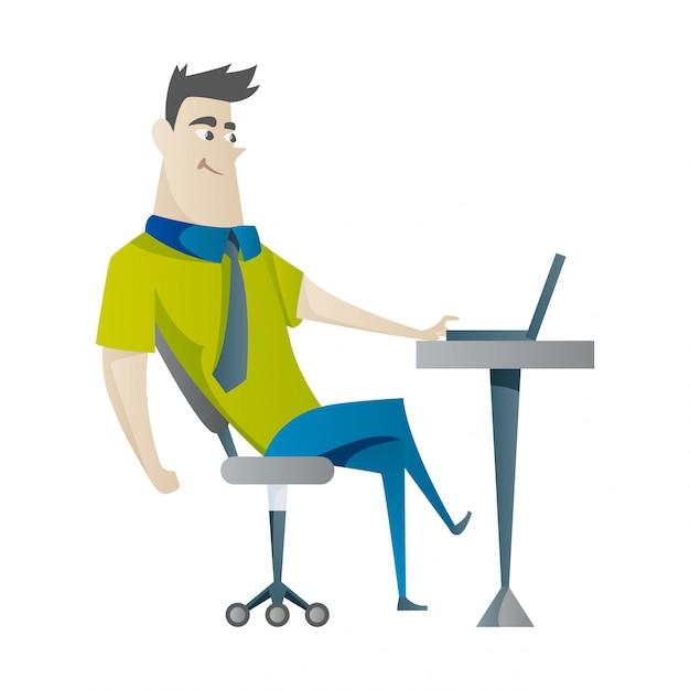 Jovem trabalhando no laptop Vetor Premium