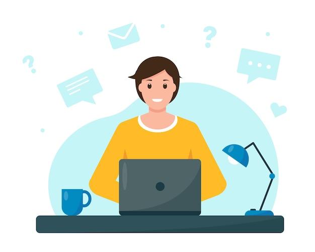 Jovem trabalhando ou estudando em casa, escritório em casa freelance ou conceito de educação online Vetor Premium