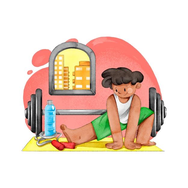 Jovem treinando em casa ilustrado Vetor grátis