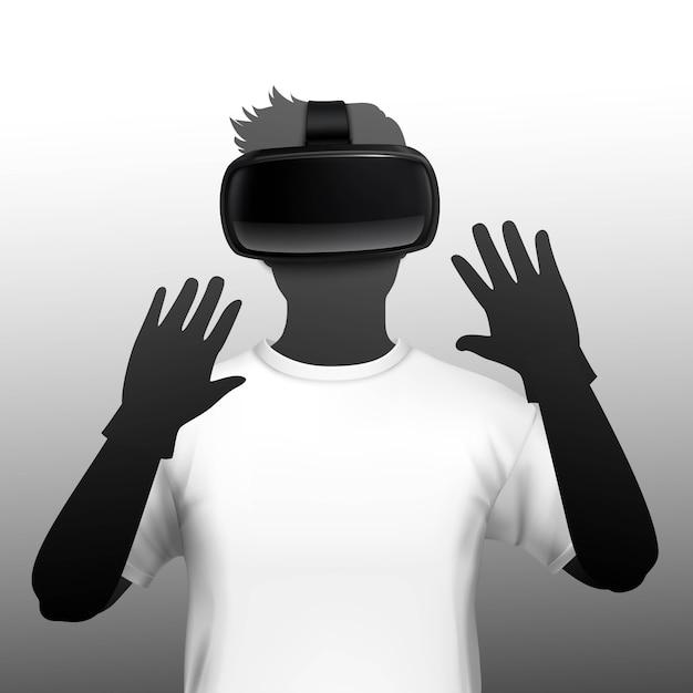 Jovem usando fone de ouvido de simulação de realidade virtual e aumentada Vetor grátis