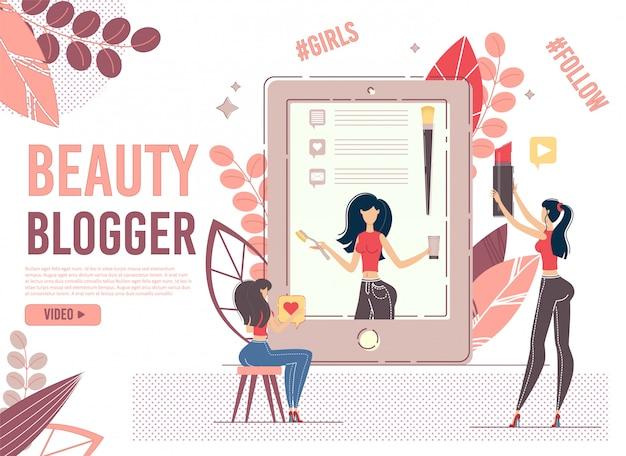 Jovem usuário do sexo feminino assiste beleza blogger no dispositivo Vetor Premium