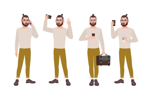 Jovem vestido com roupas elegantes com smartphone em diferentes posições Vetor Premium