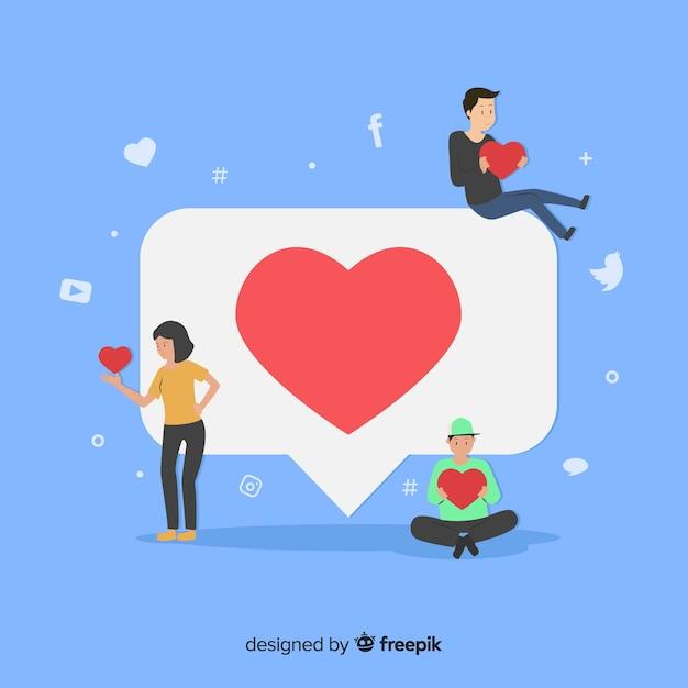 Jovens à procura de gostos nas redes sociais Vetor grátis