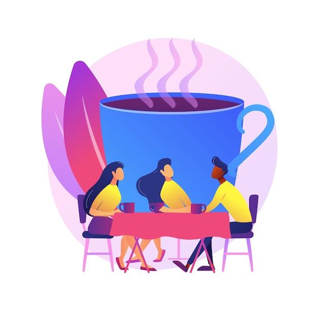 Jovens adultos, colegas de folga do trabalho. reunião de amigos, comunicação com colegas de trabalho, conversa amigável. pessoas tomando café e conversando. Vetor grátis
