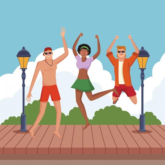 Jovens amigos e cartoons de verão Vetor grátis