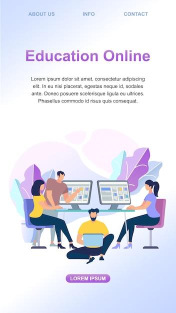 Jovens aprendendo on-line juntos em computadores Vetor Premium